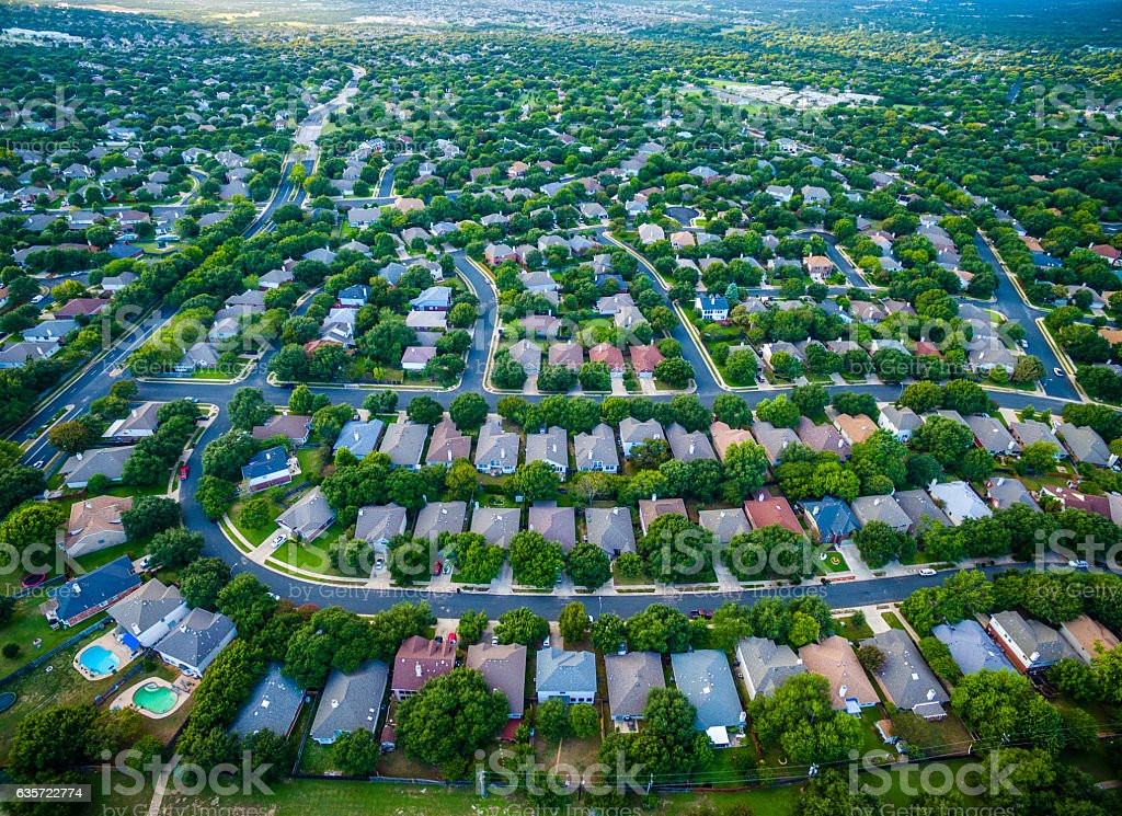 Aerial Surburb New Development Residential Homes stock photo