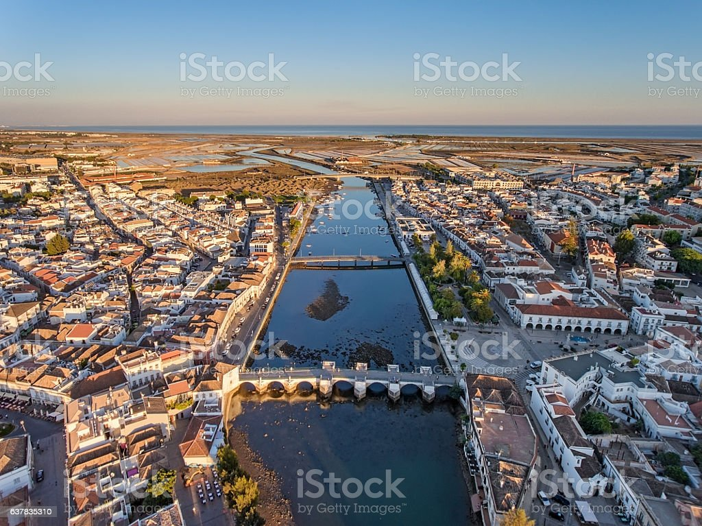 Aerial. Tavira tourist town, filmed from the sky. stock photo