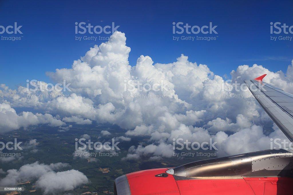 антенна вид сверху Кучевое облако и Облачный пейзаж с голубое небо Стоковые фото Стоковая фотография