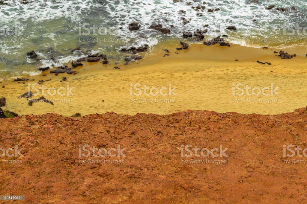 Aerial Top View Empty Beach Pipa Brazil stock photo