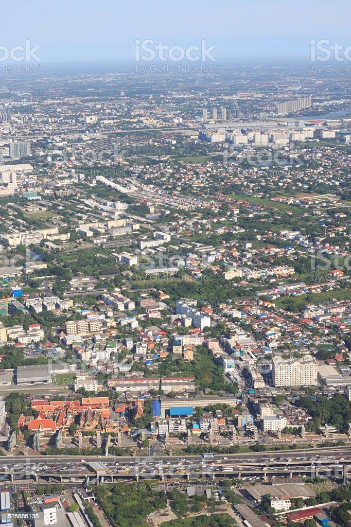 антенна вид сверху из окна самолета, городской город Стоковые фото Стоковая фотография