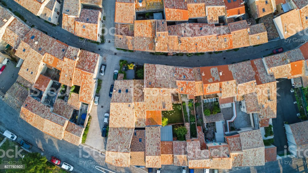 Aerial top view of Bram architecture and roofs from above, Southern France stock photo