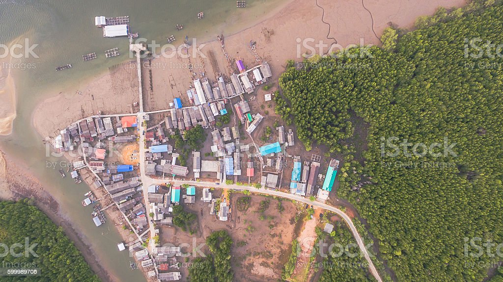 aerial top view of fishing village stock photo