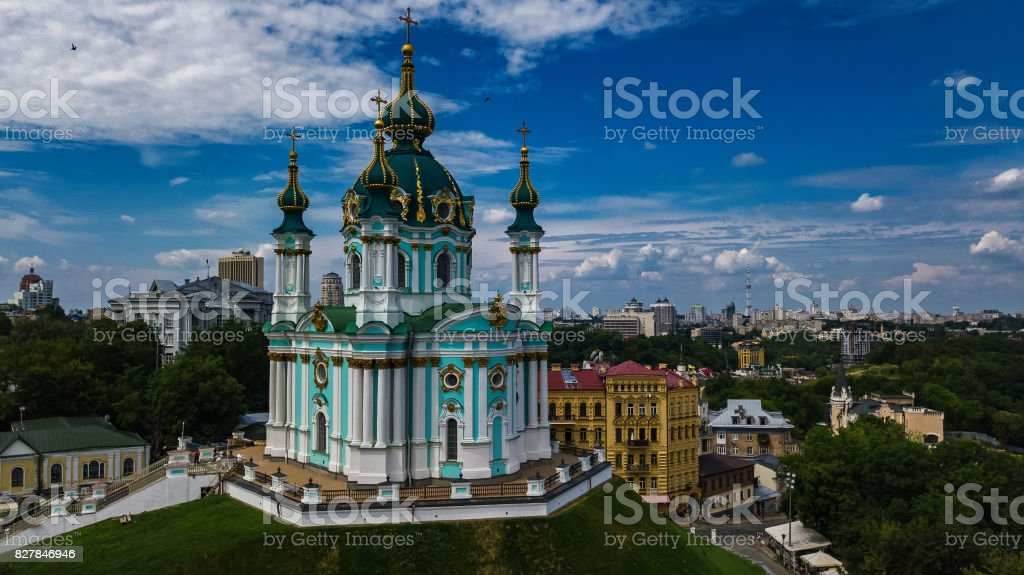 Aerial top view of Saint Andrew's church and Andreevska street from above, Podol district, city of Kiev (Kyiv), Ukraine stock photo