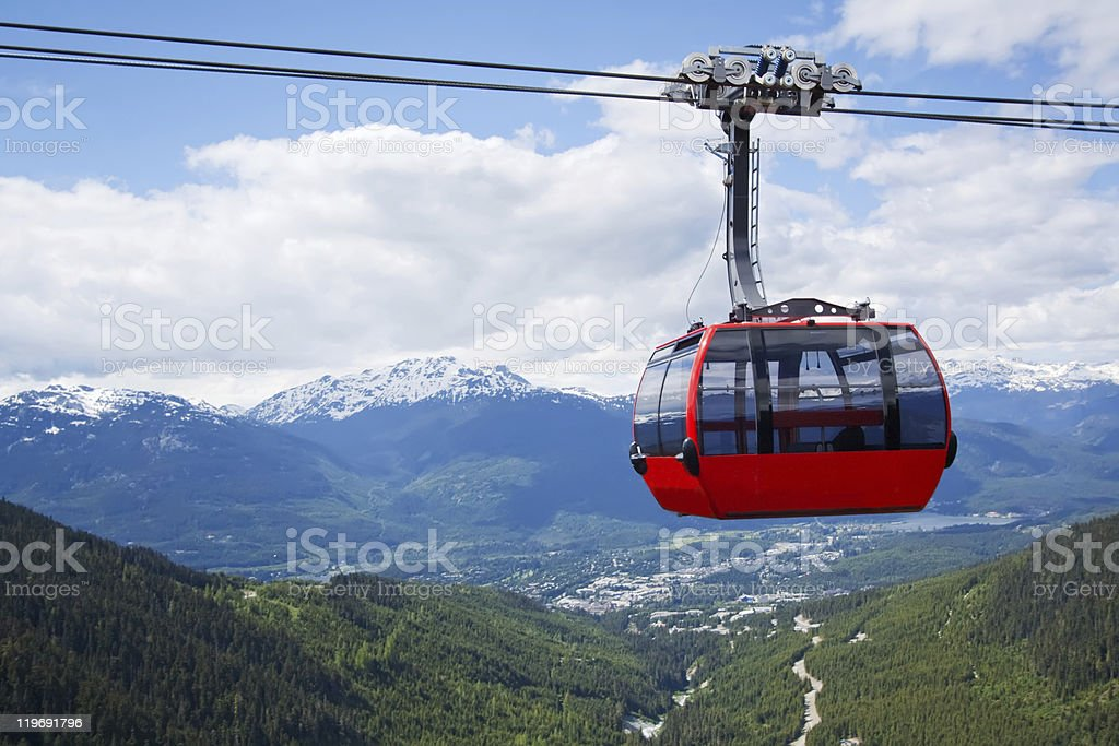 Aerial tram at Whistler Peak, Canada stock photo
