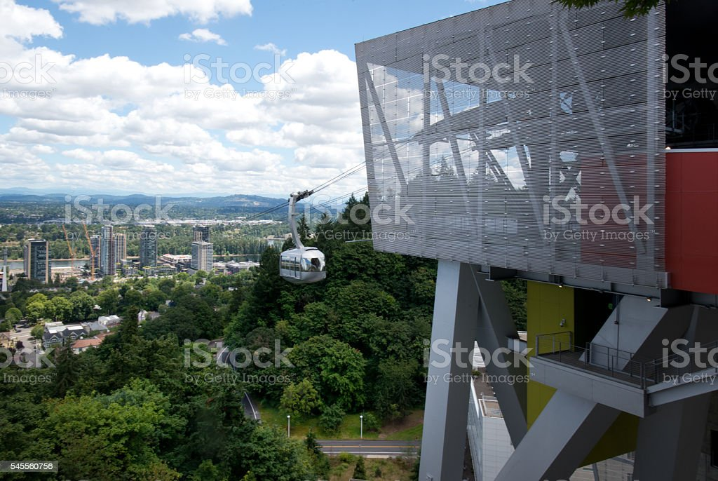 Aerial Tramway Car and Station, Panorama City View, Portland, Cloudscape stock photo