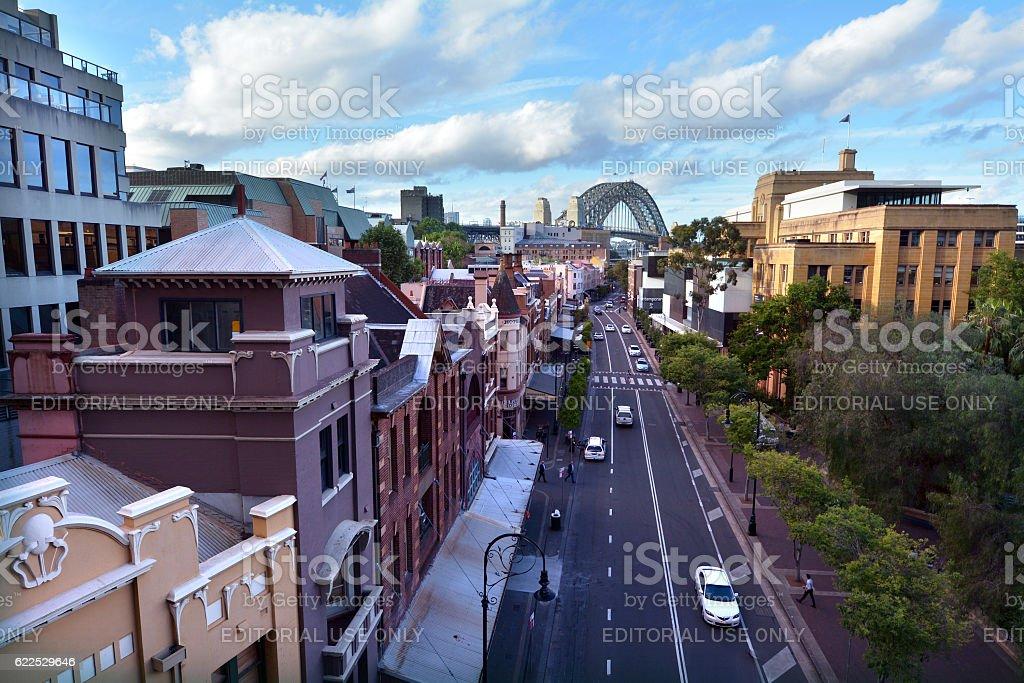 Aerial urban landscape of George Street, The Rocks, Sydney, Australia stock photo