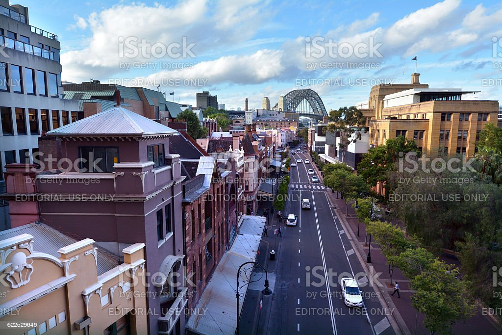 Aerial urban landscape of George Street, The Rocks, Sydney, Australia stock photo