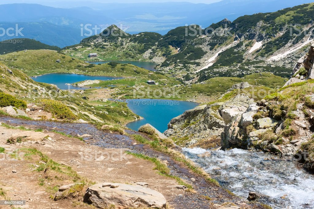 Aerial veiw of Rila Lakes hut, Bulgaria stock photo