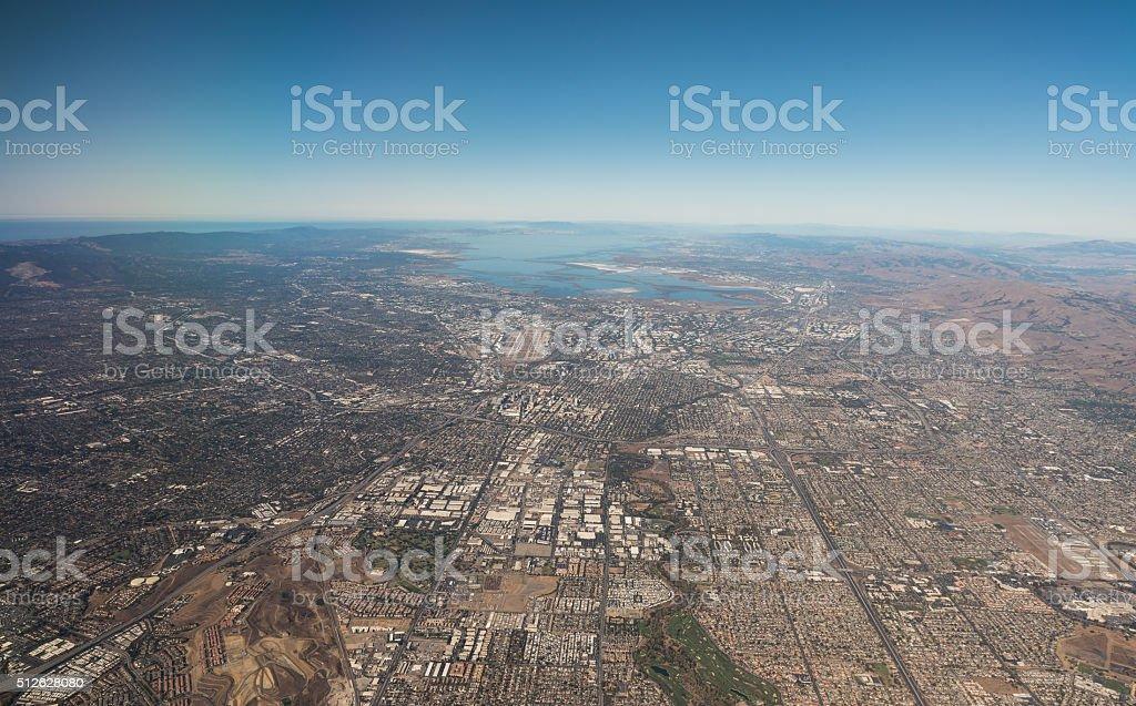 Aerial veiw San Francisco Bay Area stock photo