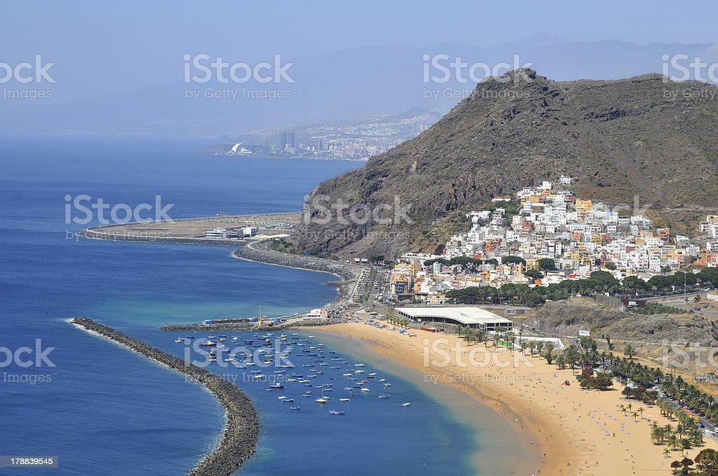 Aerial view a beach of Tenerife stock photo