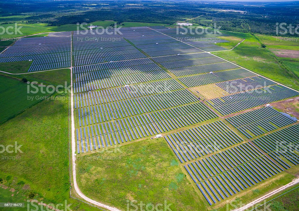 Aerial View Above Massive Solar Power planet Texas stock photo
