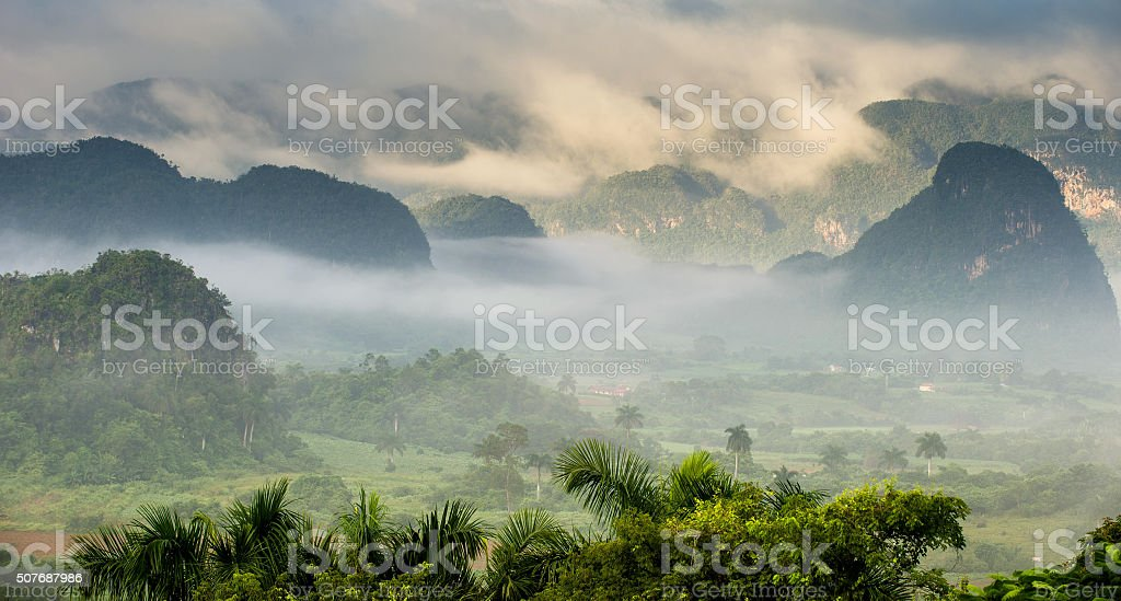 Aerial View across the Vinales Valley in Cuba. stock photo