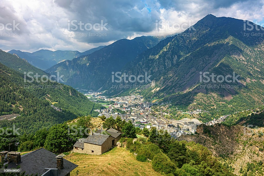 Aerial View Andorra la Vella Pyrenees Mountains stock photo