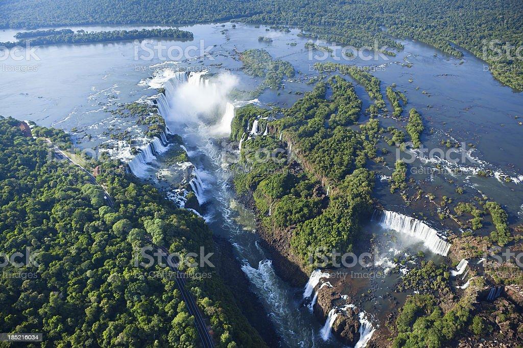 Aerial view Argentina Iguazu Waterfalls Garganta del Diablo stock photo