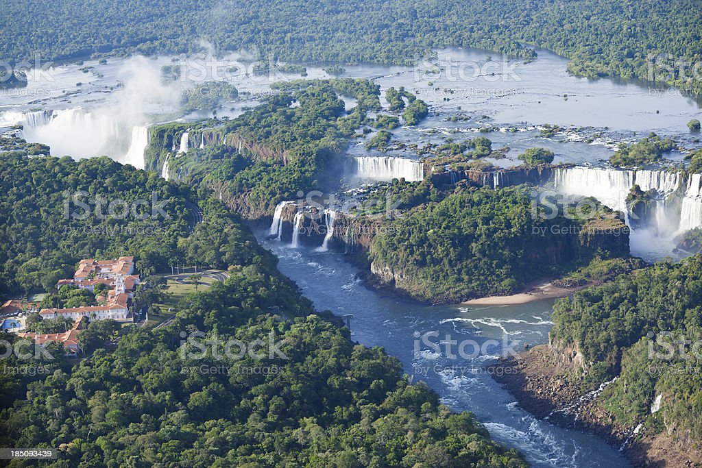 Aerial view Argentina Iguazu Waterfalls stock photo