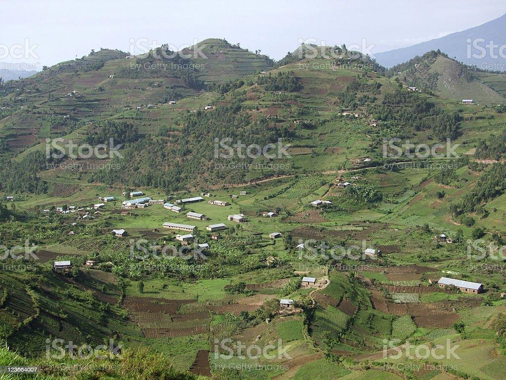 aerial view around Virunga Mountains in Uganda royalty-free stock photo
