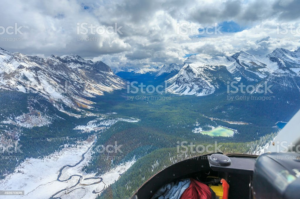 Aerial View  at Assiniboine Provincial Park, Canada stock photo