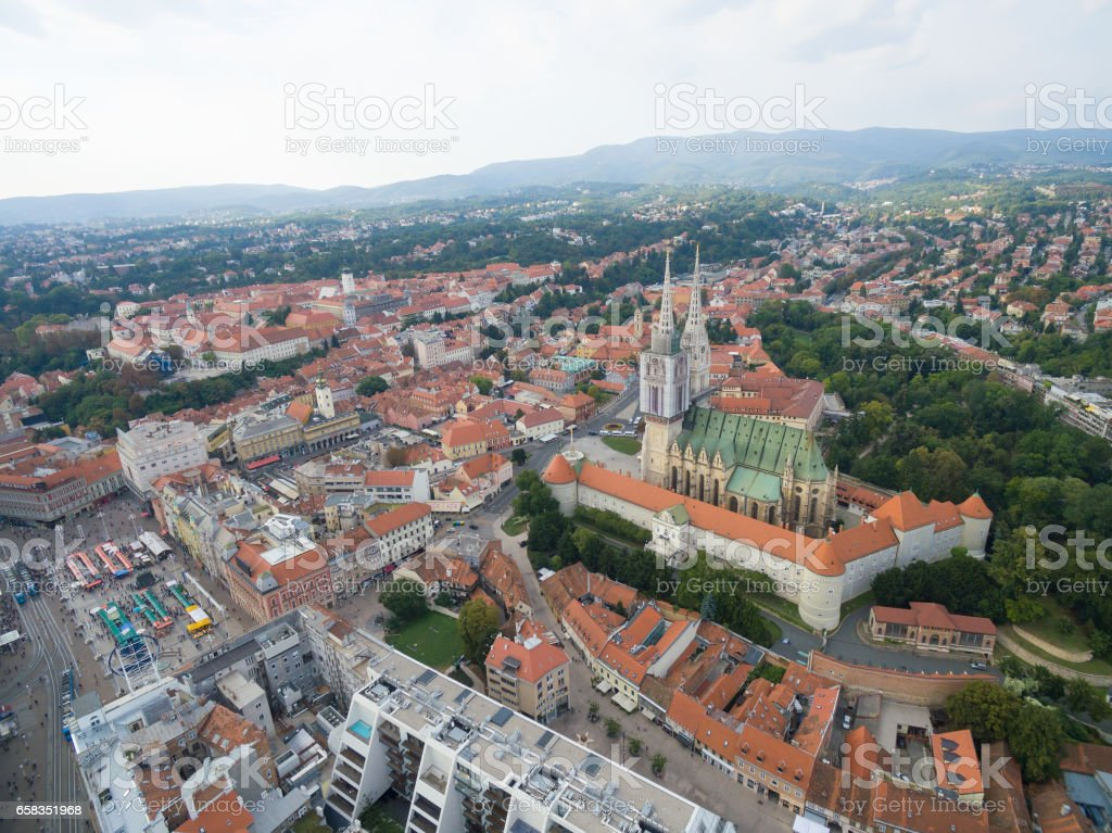 Aerial view at capital town of Croatia, Zagreb city main square stock photo