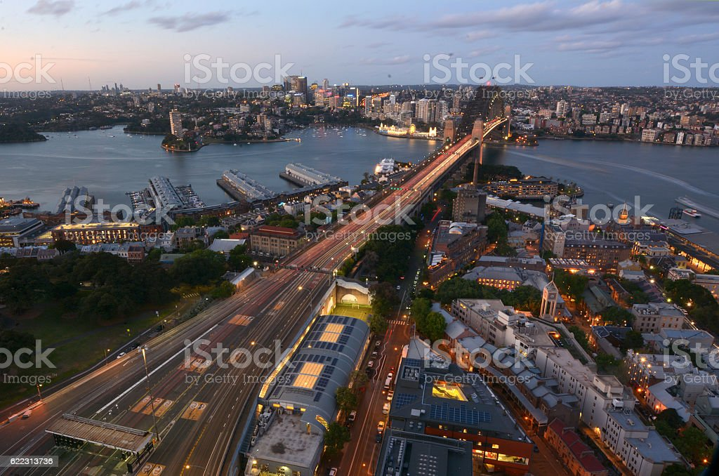 Aerial view at dusk of Sydney Harbour Bridge stock photo