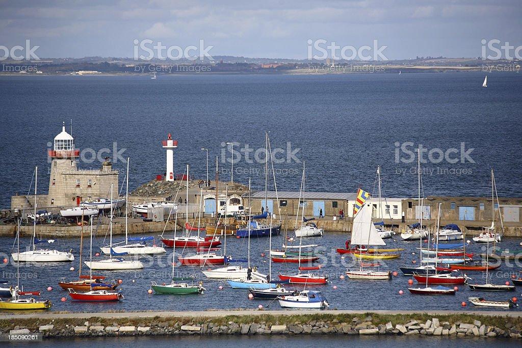 Aerial view at Howth pier and marina, Dublin, Ireland stock photo