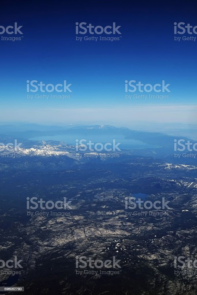 Aerial View at Lake Tahoe and Snow Capped Sierra Nevada stock photo