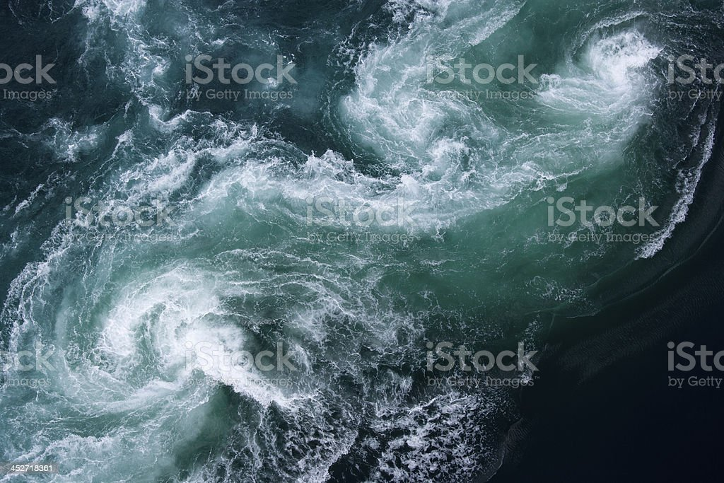 Aerial view at mighty current tide Saltstraumen in Norway stock photo