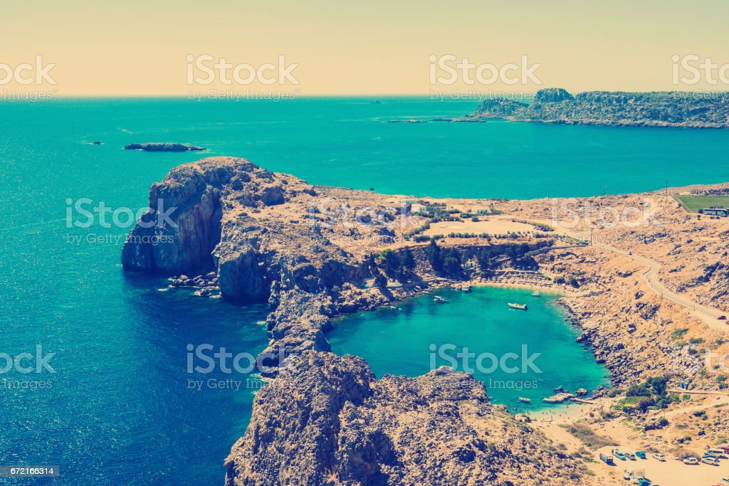 Aerial View at Saint Paul Bay stock photo