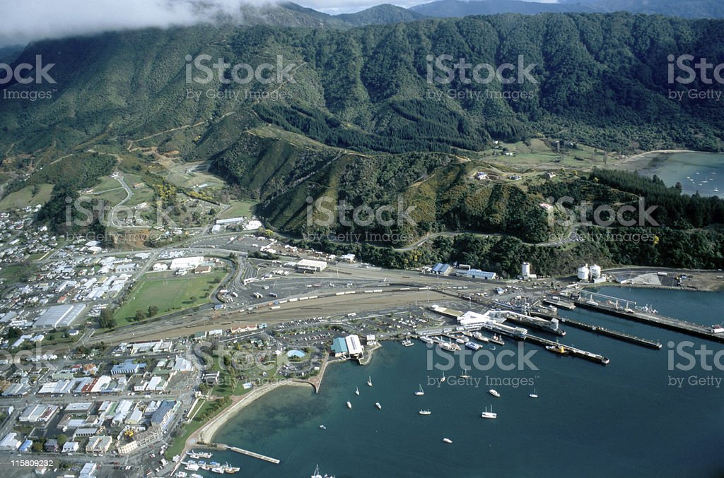 aerial view at the harbour of Picton, New Zealand stock photo