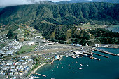 aerial view at the harbour of Picton, New Zealand