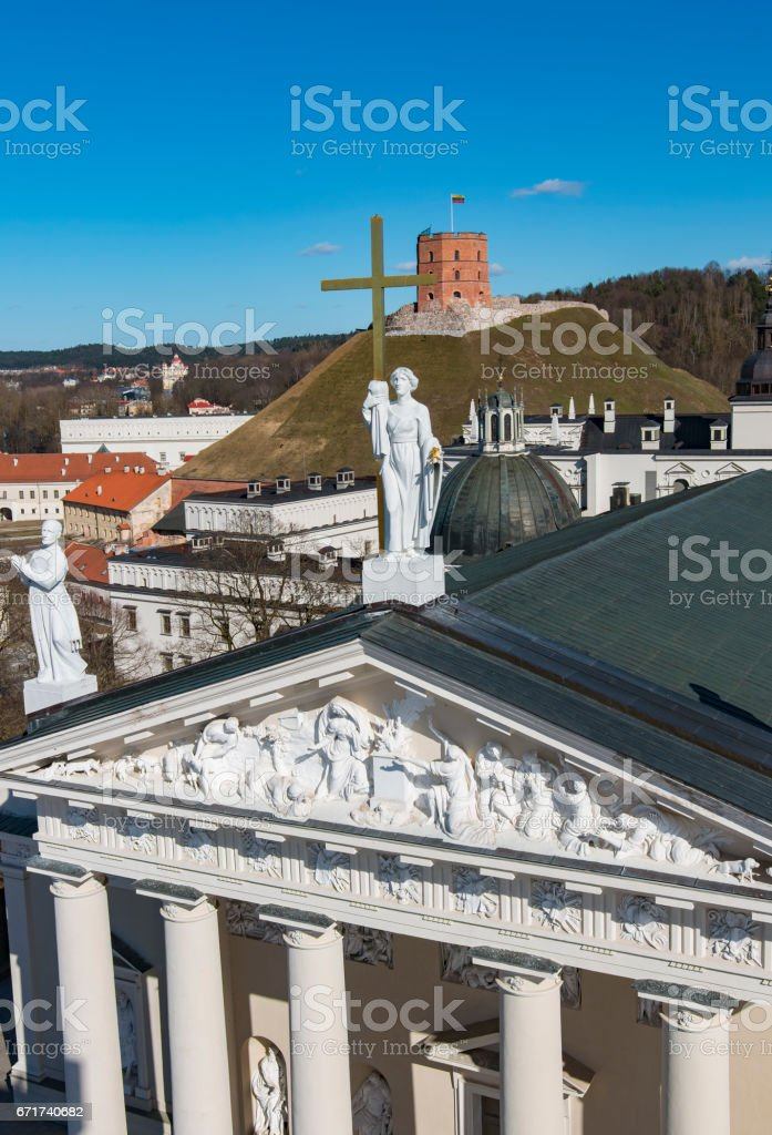 VILNIUS, LITHUANIA . Aerial view at Vilnius. Panorama of Vilnius: Gediminas castle, ld town and other objects. stock photo