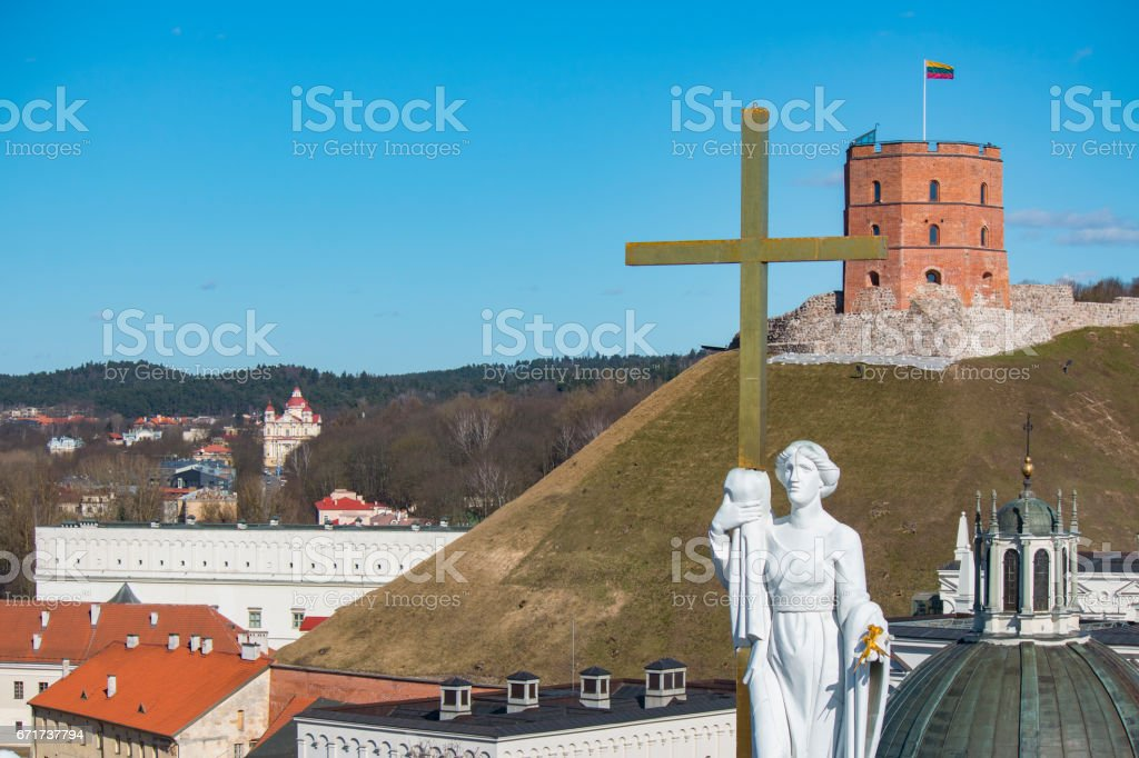 VILNIUS, LITHUANIA . Aerial view at Vilnius. Panorama of Vilnius: Gediminas castle, Neris river, old town and other objects. stock photo