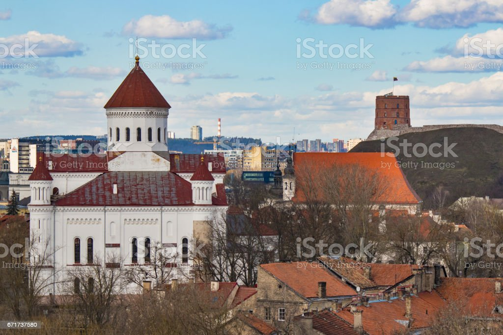 VILNIUS, LITHUANIA . Aerial view at Vilnius. Panorama of Vilnius: Gediminas castle, old town and other objects. stock photo