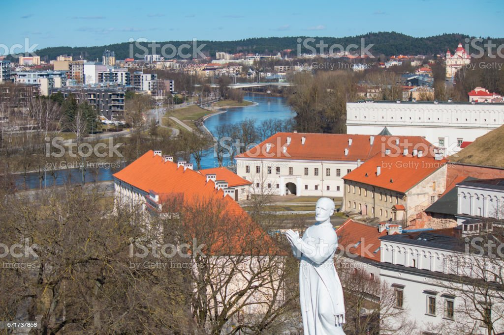 VILNIUS, LITHUANIA . Aerial view at Vilnius. Panorama of Vilnius: Neris river, old town and other objects. stock photo