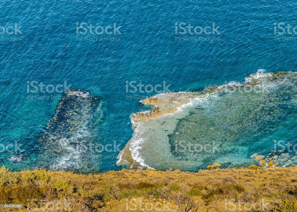 Aerial View Atlantic Ocean Chubut Argentina stock photo