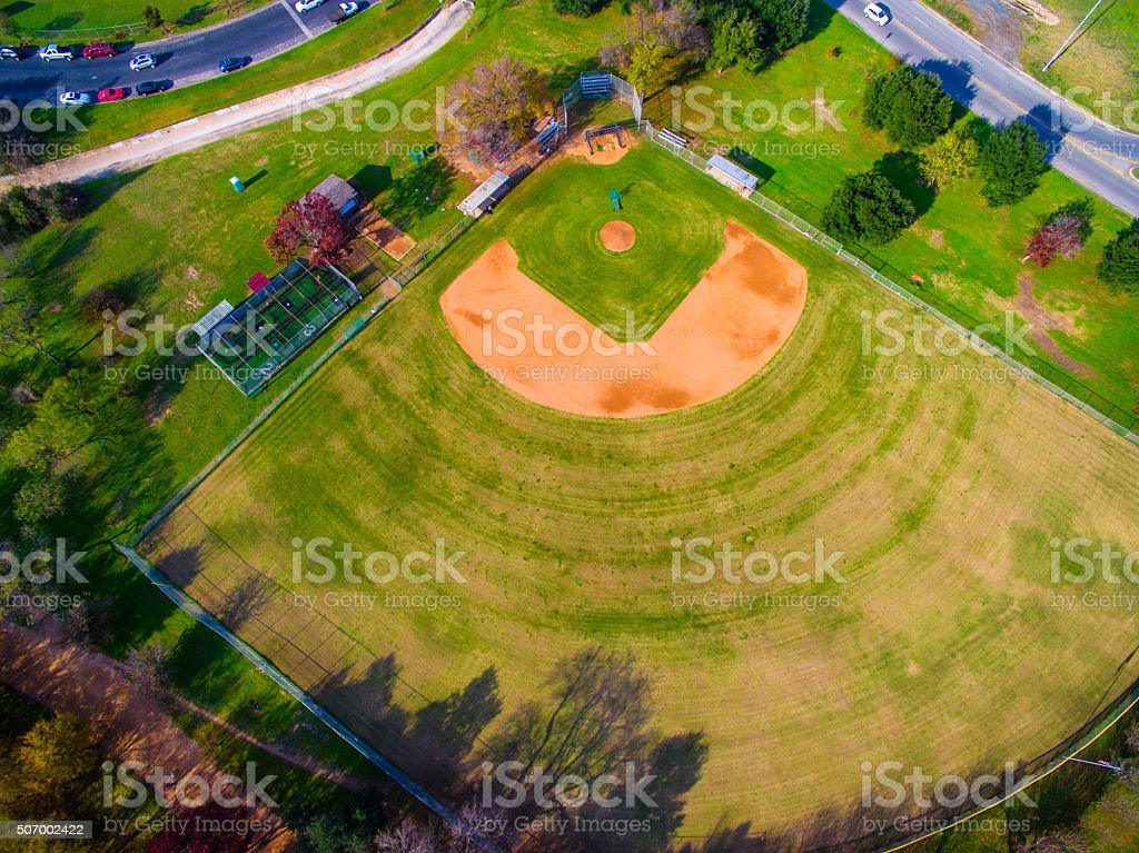 Aerial View Baseball Field Over Austin Texas stock photo