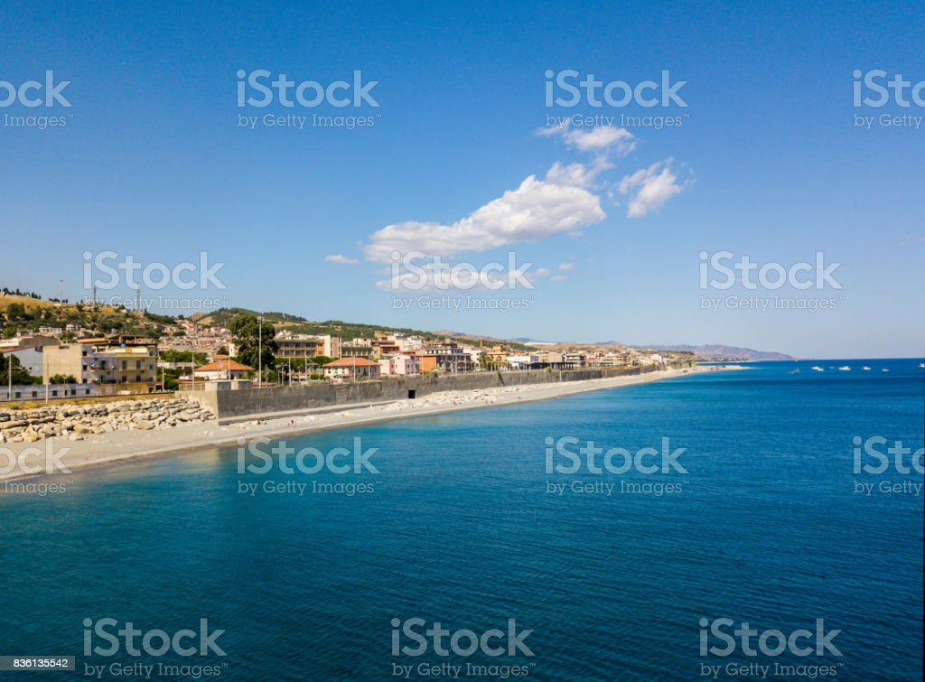 Aerial view beach and sea of ​​Melito di Porto Salvo, coast and hills of Calabria. Italy stock photo
