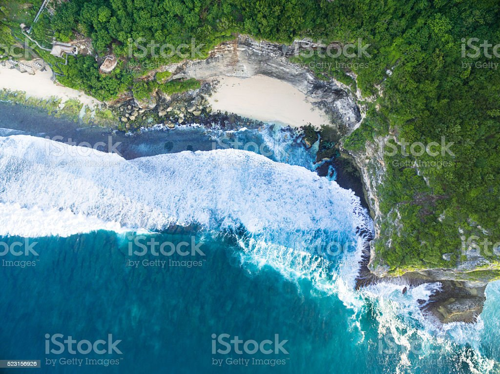 Aerial view beach in bali stock photo