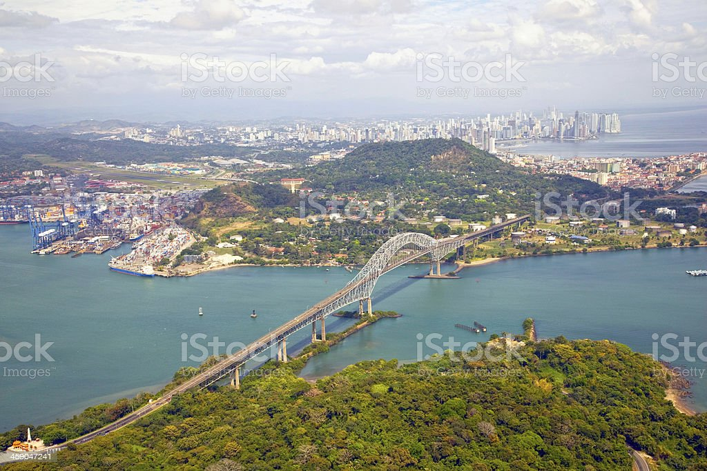 Aerial view; Bridge of the Americas, Panama stock photo