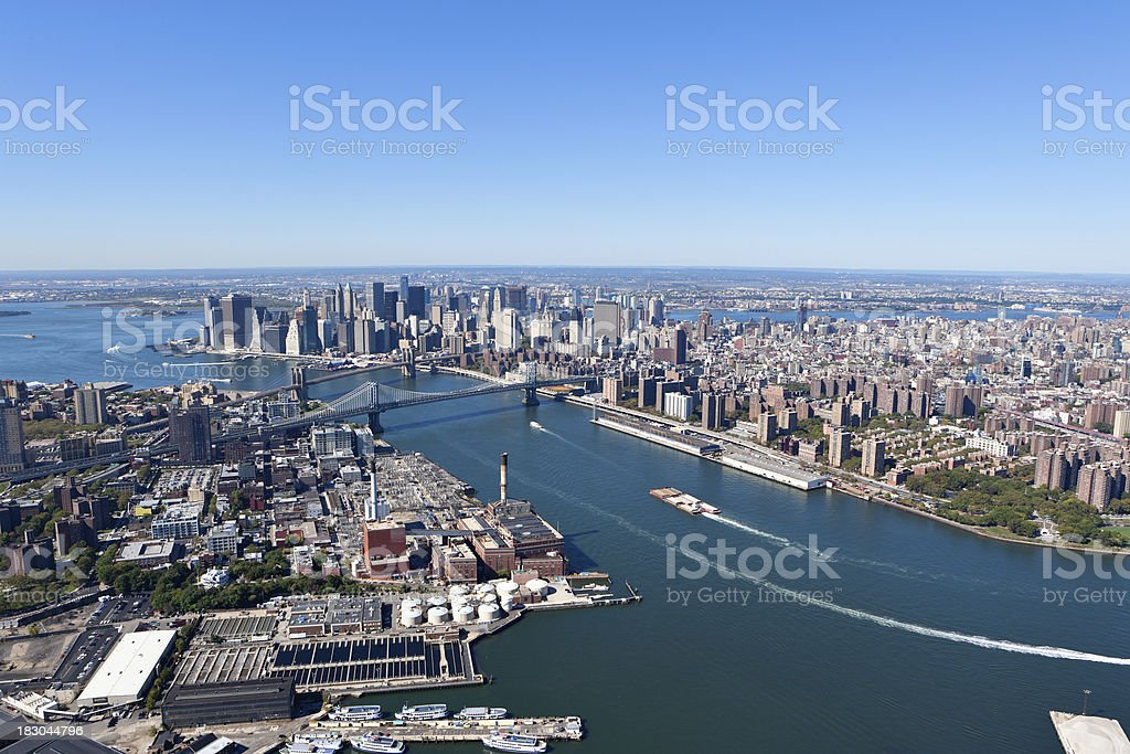 aerial view brooklyn, east river, manhattan stock photo