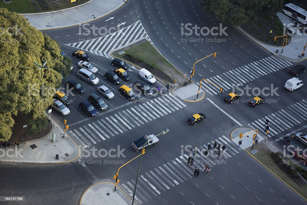 Aerial View Buenos Aires Argentina traffic near Obelisco stock photo