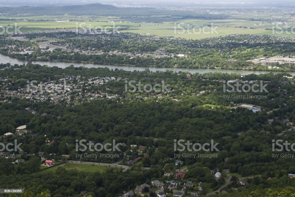Aerial view Canadian suburbs stock photo