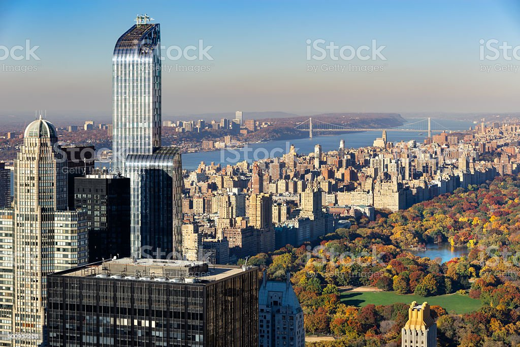Aerial View, Central Park in Fall, Upper West Side, NYC stock photo