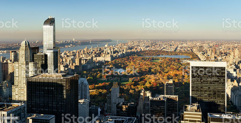 Aerial View, Central Park in Fall with Midtown skyscrapers, NYC stock photo