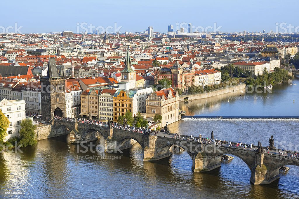Aerial view Charles bridge Prague Czech Republic with Vltava River royalty-free stock photo