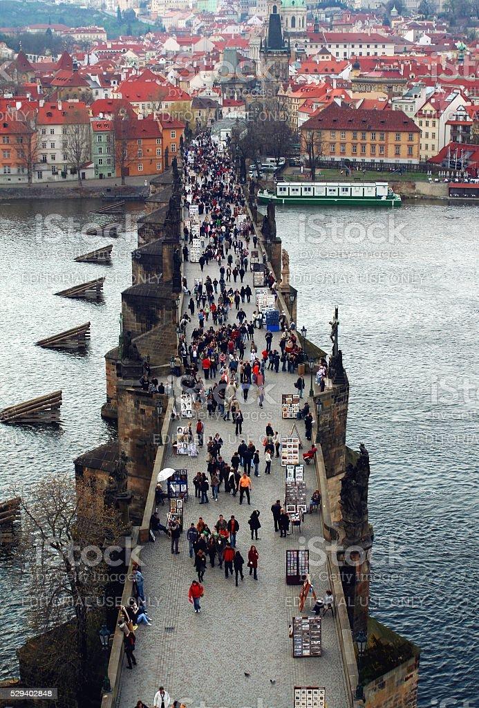 Aerial view Charles bridge Prague walking tourists Hradcany stock photo