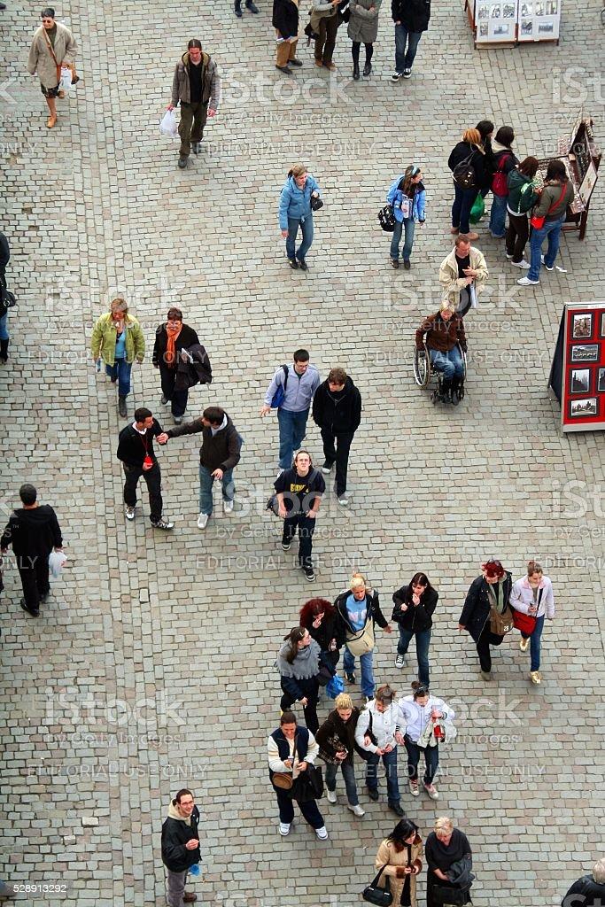 Aerial view Charles bridge Prague walking tourists stock photo