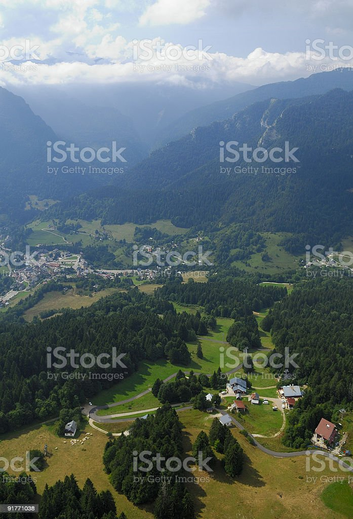 Aerial view Chartreuse valley stock photo