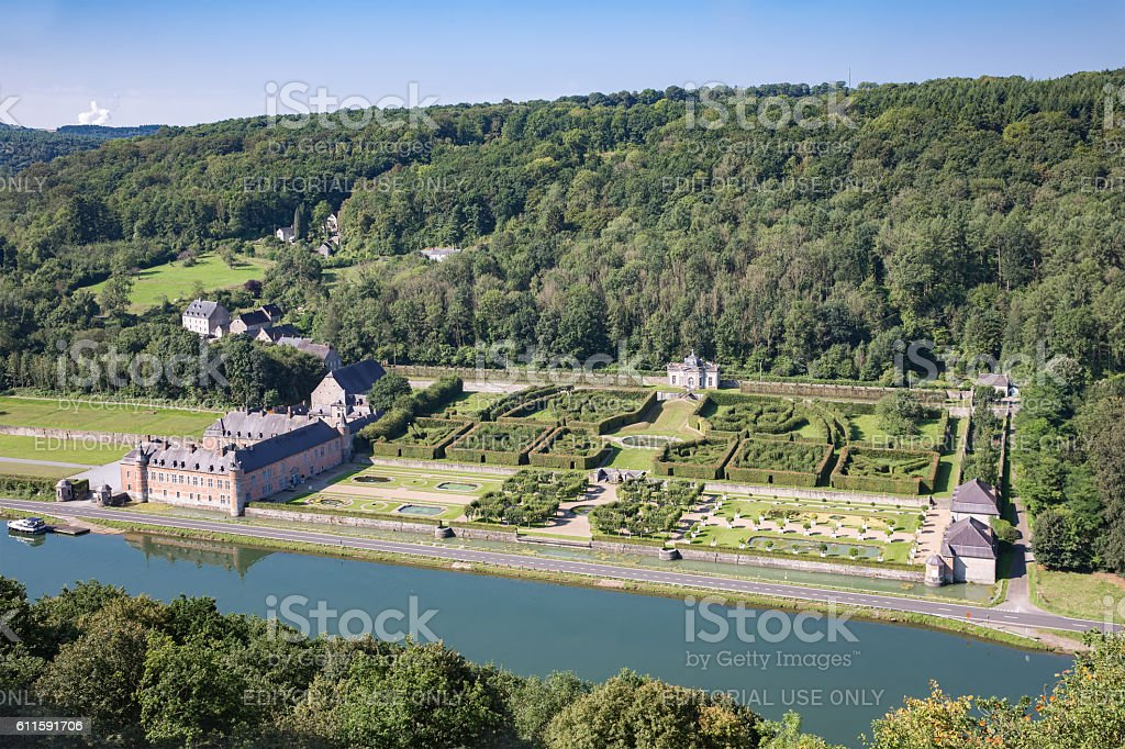 Aerial view chateau Freyr along river Meuse near Dinant, Belgium stock photo