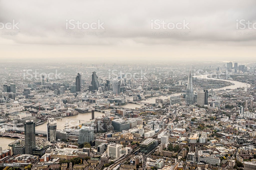 Aerial view City of London on a cloudy day stock photo